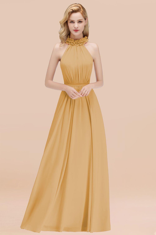 BMbridal Modest High-Neck Halter Ruffle Chiffon Bridesmaid Dresses Affordable