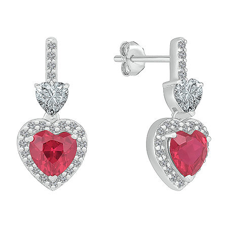 Lab Created Red Ruby Sterling Silver Heart Drop Earrings, One Size , No Color Family