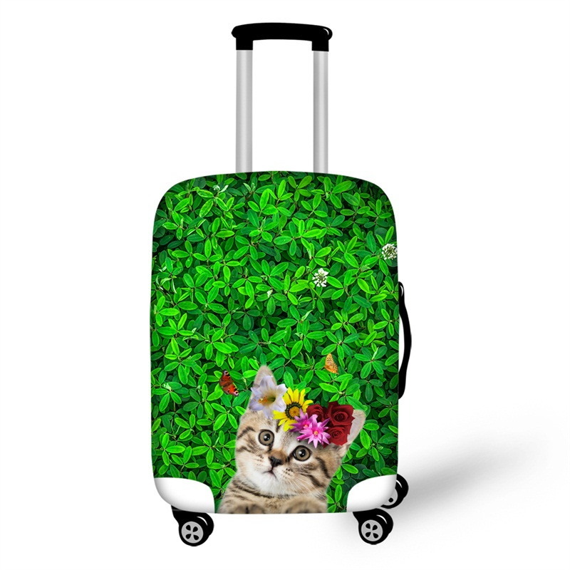 Grass Floral Cute Cat Animals 3D Spandex Travel Luggage Cover 20/22/24/26/28 Inch
