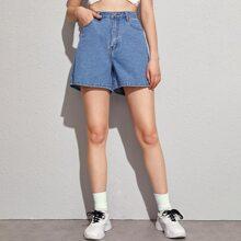 Shorts denim de pierna recta con bolsillo oblicuo