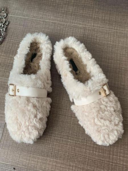 Milanoo Women\'s Mules & Clogs Faux Fur Apricot Round Toe Slingbacks Shoes