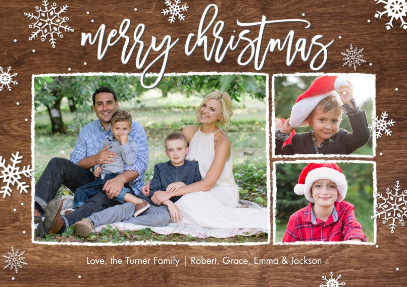 Christmas Photo Cards Flat Glossy Photo Paper Cards with Envelopes, 5x7, Card & Stationery -Christmas Snowflakes Rustic Memories by Tumbalina
