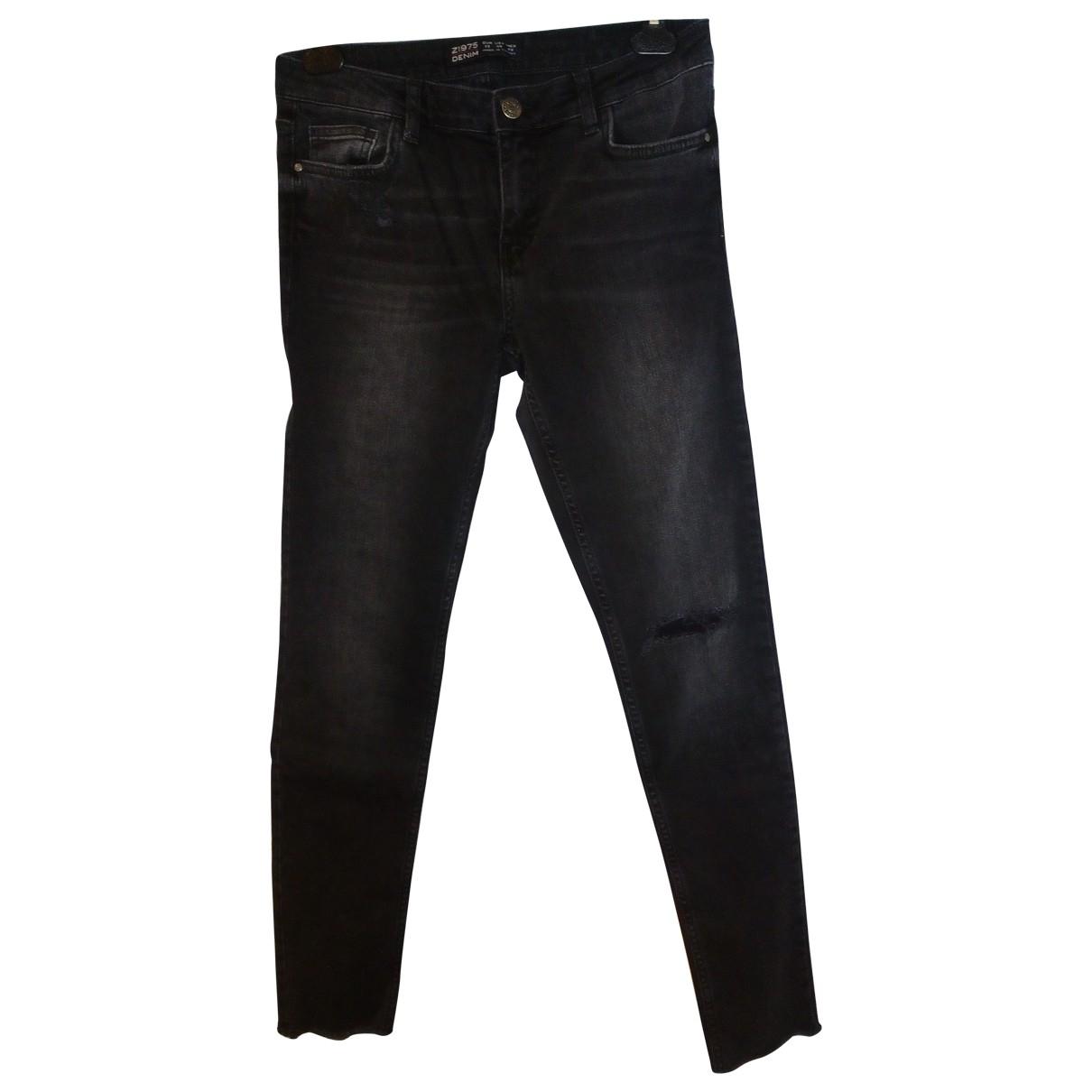 Zara \N Black Cotton - elasthane Jeans for Women 38 FR