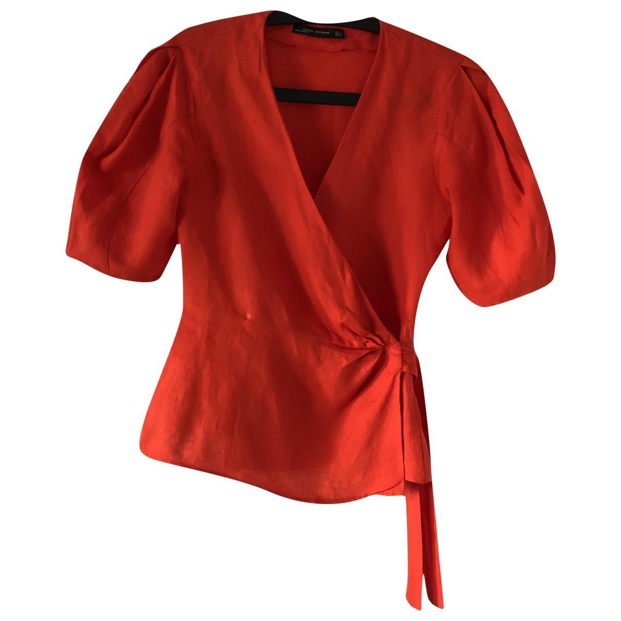 Zara \N Top in  Rot Leinen