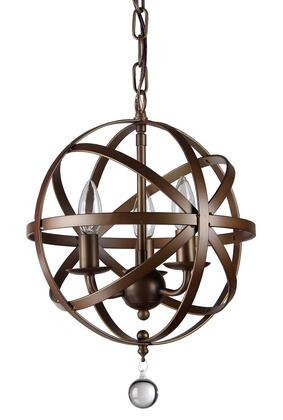 320322 Riza 3-light Antique Bronze 12-inch Crystal Chandelier in