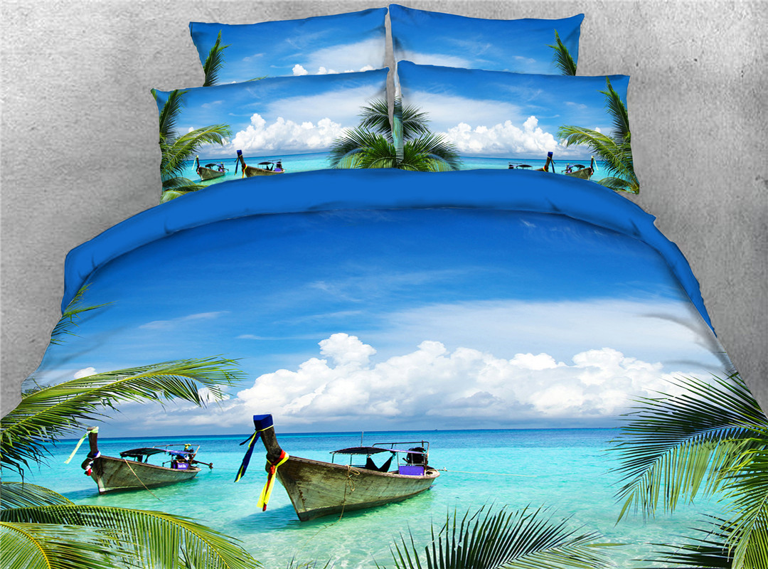 Blue Sea and Fishboat in Blue Sky Printed 4-Piece 3D Bedding Sets Duvet Covers Colorfast Wear-resistant Endurable Skin-friendly All-Season Ultra-soft