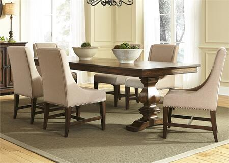 Armand Collection 242-DR-7TRS 7-Piece Dining Room Set with Trestle Dining Table and 6 Upholstered Side Chairs in Antique Brownstone
