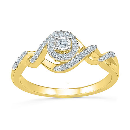 Promise My Love Womens 1/5 CT. T.W. Genuine White Diamond 10K Gold Promise Ring, 5 , No Color Family