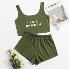 Slogan Graphic Tank Pajama Set