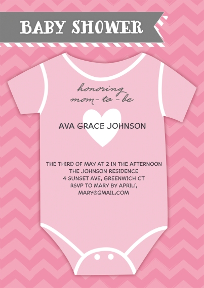 Baby Shower Invitations 5x7 Cards, Premium Cardstock 120lb with Elegant Corners, Card & Stationery -Baby Shower Onesie