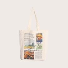 Figure & Letter Graphic Shoulder Bag