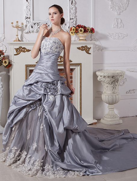Milanoo Wedding Dresses Ball Gown Strapless Bridal Dress Silver Taffeta Lace Beading Ruched Dropped Waist Court Train Bridal Gown