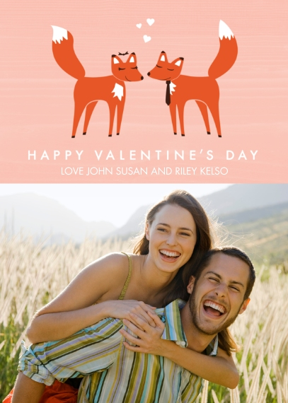Valentine's Cards 5x7 Folded Cards, Standard Cardstock 85lb, Card & Stationery -Fantastic Foxes