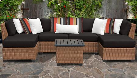 Laguna Collection LAGUNA-07a-BLACK 7-Piece Patio Set 07a with 2 Corner Chair   2 Armless Chair   2 Ottoman   1 End Table - Wheat and Black