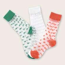 3pairs Toddler Girls Graphic Mesh Socks