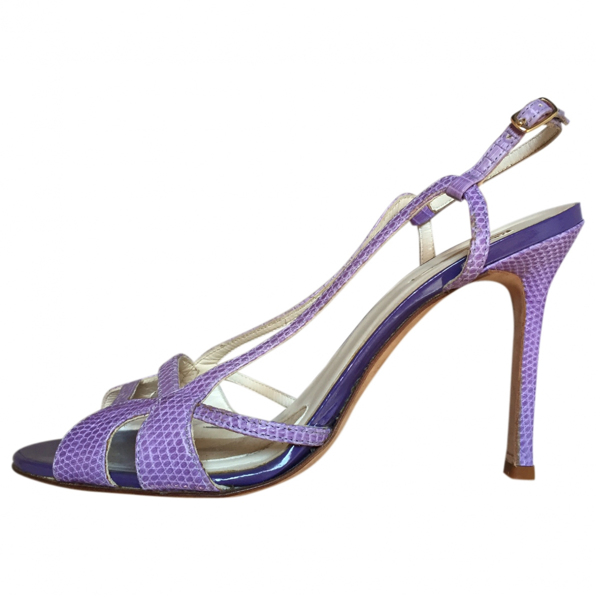 Non Signe / Unsigned \N Sandalen in  Lila Echse