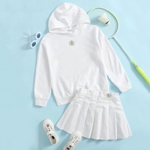 Girls Drop Shoulder Embroidery Floral Hooded Top & Pleated Skirt Set