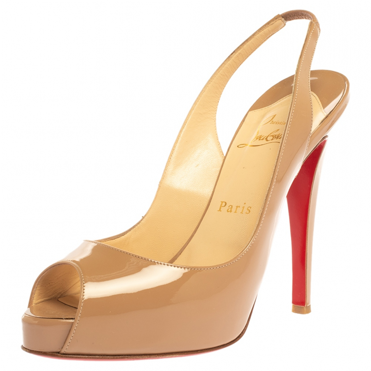 Christian Louboutin N Beige Patent leather Sandals for Women 7 US