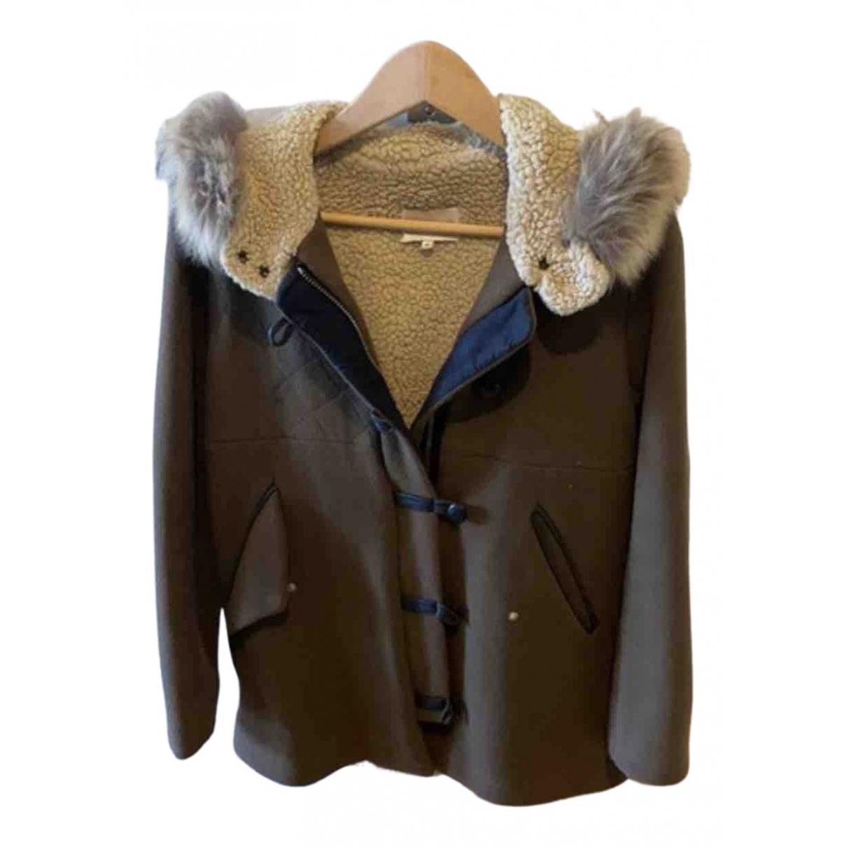 Sandro - Manteau   pour femme en coton - kaki