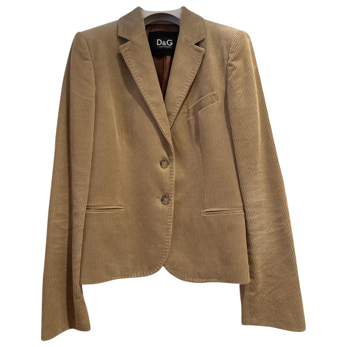 D&g \N Camel Velvet jacket for Women 42 IT
