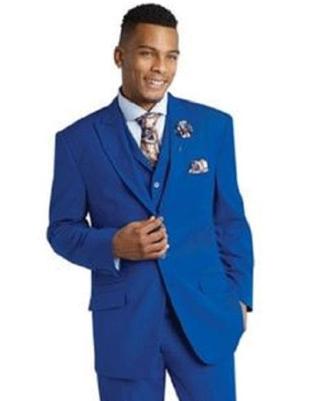 Mens One Ticket Pocket 3 piece royal poly/rayon suit & Pants