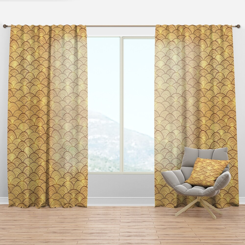 Designart 'Golden Clouds In The Sky' Mid-Century Modern Curtain Panel (50 in. wide x 120 in. high - 1 Panel)