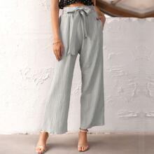 High Waist Pocket Side Belted Pants