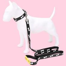 1pc Bone Print Dog Collar & 1pc Dog Leash