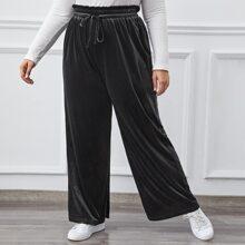 Plus Velvet Drawstring Waist Paperbag Pants