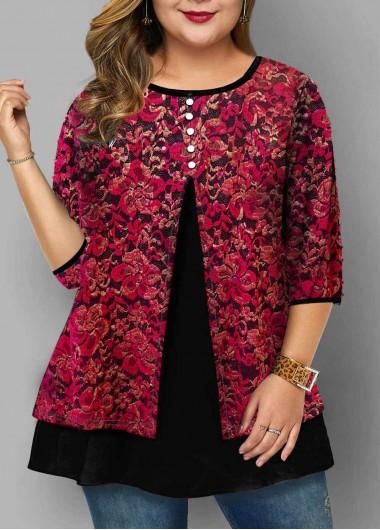 Lace Panel Round Neck Plus Size T Shirt - 1X