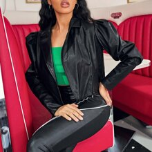 Peak Collar Zipper Front Gigot Sleeve PU Leather Jacket
