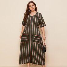 Tunika Kleid mit Streifen Muster