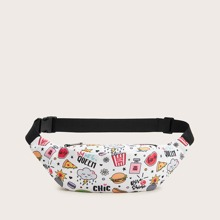 Letter & Cartoon Graphic Fanny Pack
