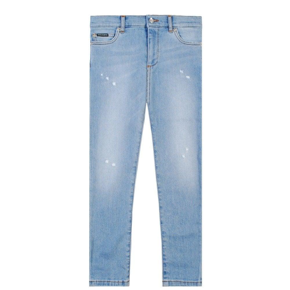 Dolce & Gabbana Kids Back Logo Print Jeans Blue Colour: BLUE, Size