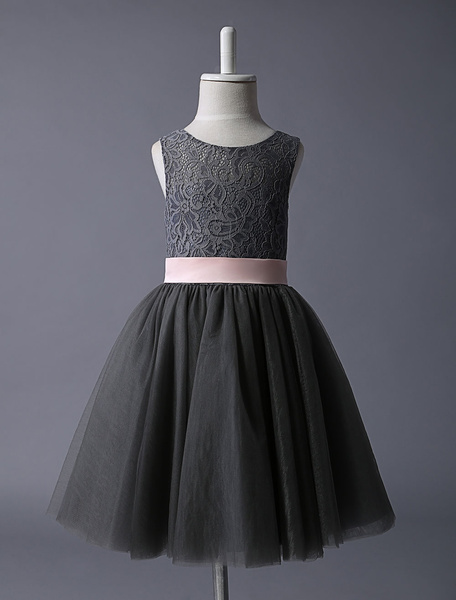 Milanoo Grey Flower Girl Dress Lace Tulle Tutu Dress Sleeveless Sash Short Kids Formal Party Dress