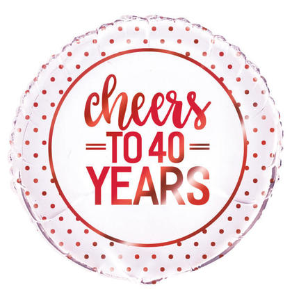 Red Round Foil Balloon Cheers to 40 Years 18