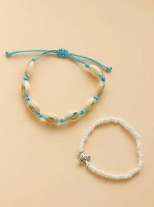 2pcs Girls Shell Bead Decor Anklet