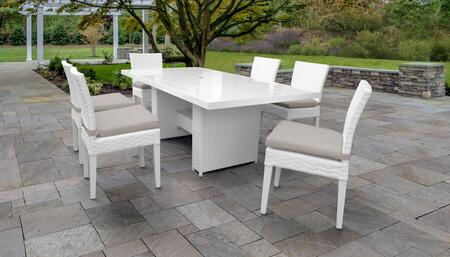 MONACO-DTREC-KIT-6C-BEIGE Monaco 7-Piece Outdoor Patio Dining Set with Rectangular Table + 6 Side Chairs - Sail White and Beige