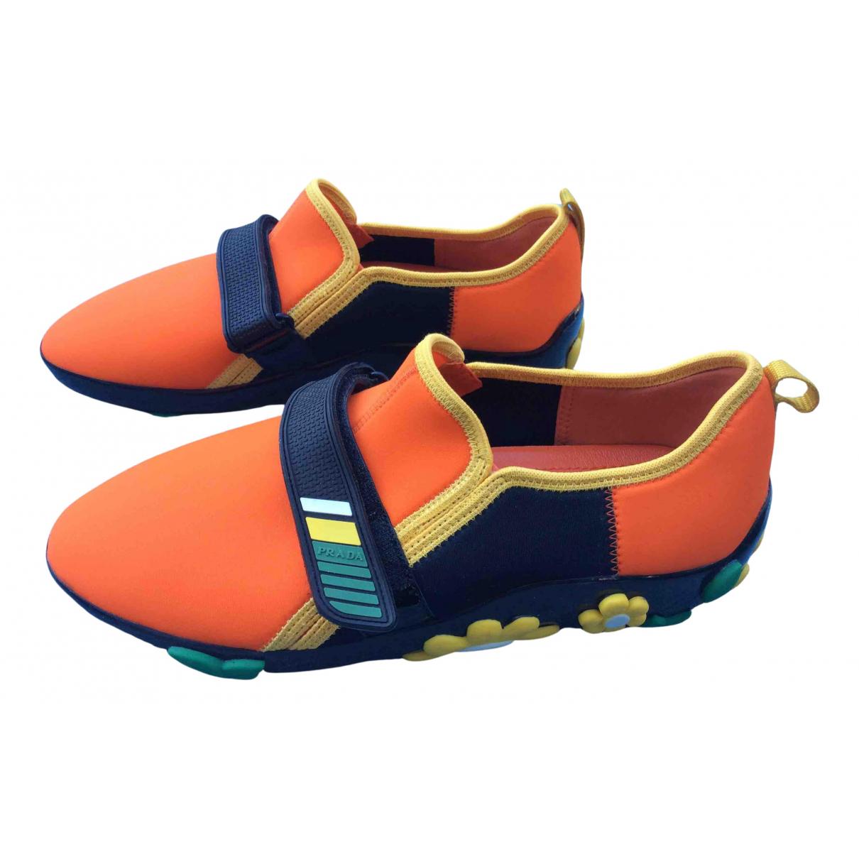 Prada \N Sneakers in  Orange Polyester