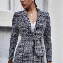 Tweed Blazer mit Karo Muster und Reverskragen