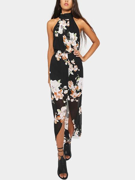 Yoins Halter Maxi Dress in Floral Print