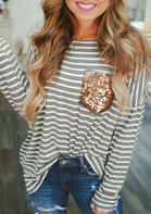Striped Sequined Pocket Long Sleeve T-Shirt Tee