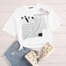 T-Shirt mit Zweitung Muster