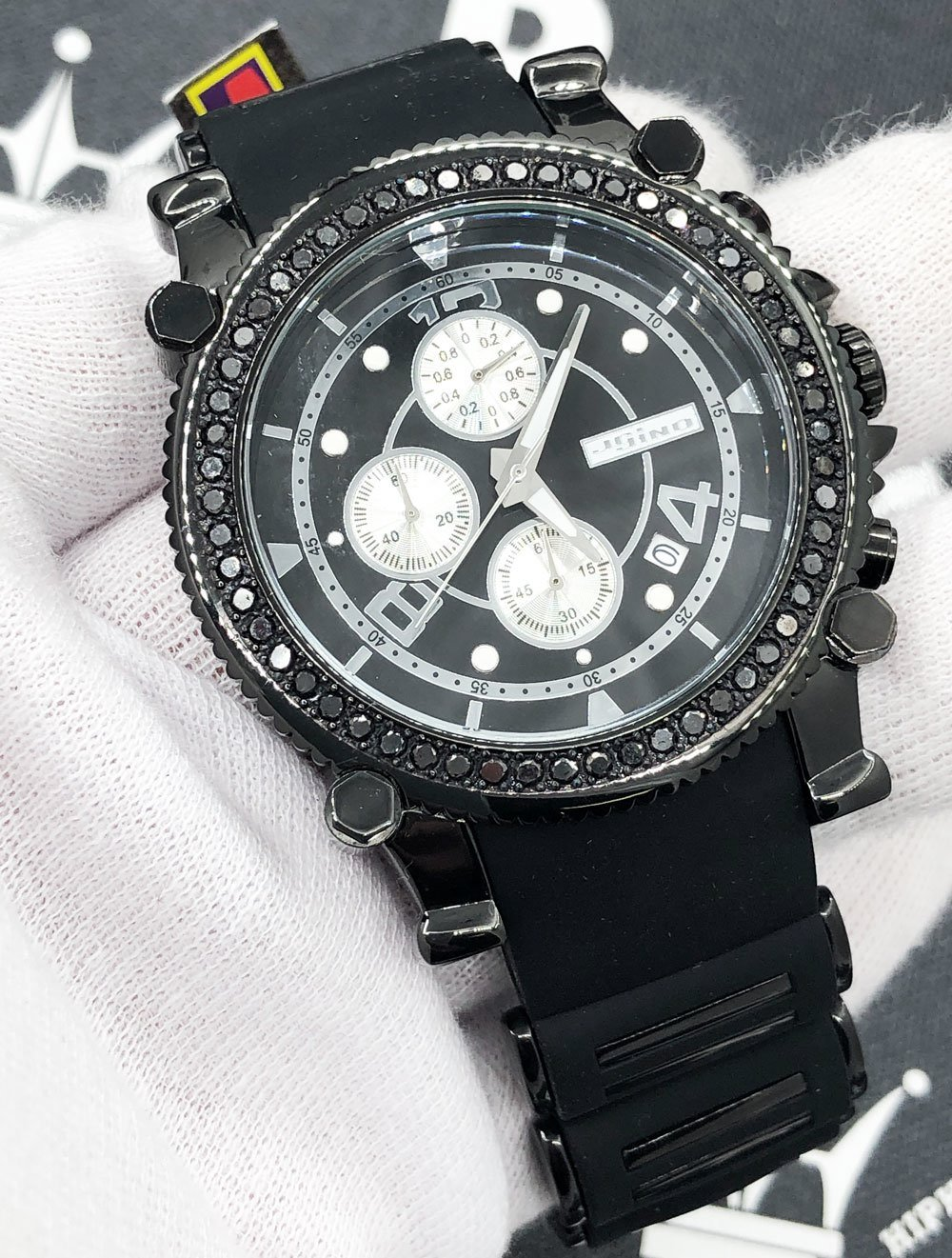 Rubber Strap 2.25 Carat Black Diamond Hip Hop Watch JoJino