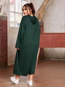 Plus Pocket Front Hooded Sweatshirt Dress