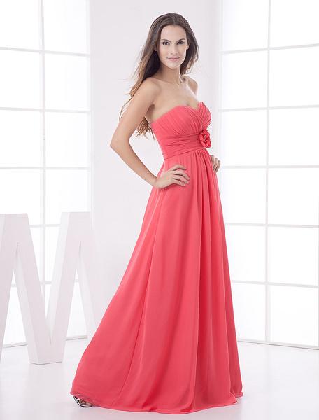 Milanoo Strapless Bridesmaid Dress Coral Floor Length Flower Chiffon Maxi Prom Dress