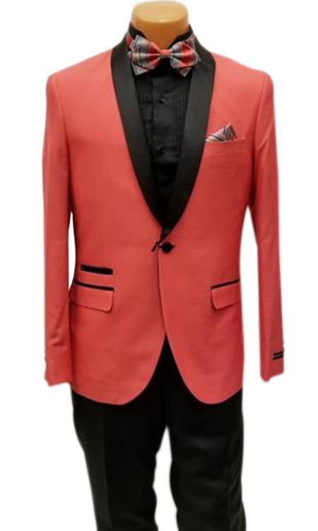 Mens One Button Shawl Lapel Coral Prom Wedding Tuxedo