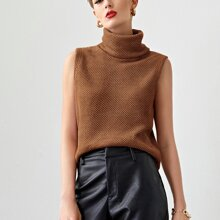 Turtleneck Waffle Knit Solid Top