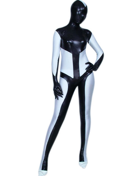 Milanoo Morph Suit Black And White Patterned Shiny Metallic Fabric Zentai Suit Unisex Full Body Suit
