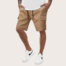 Men Pocket Drawstring Waist Cargo Shorts
